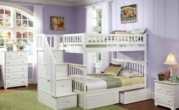 white-polished-wooden-bunk-bed-for-gilr-bedroom-having-stair-and-storage-drawer-and-banister-side-panel-as-well-as-dark-wood-bunk-beds-with-stairs-and-bunk-beds-for-young-children